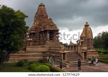 One of the temples of the western group in Khajuraho, India - stock photo