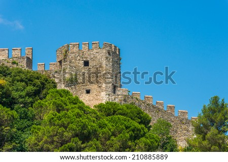 One of the towers of Rumeli Fortress overlooks the Bosphorus Strait in Istanbul, Turkey.