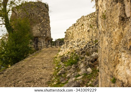 One of the towers of the fortress Cultural Historical Complex Anakopia Fortress Republic of Abkhazia - stock photo