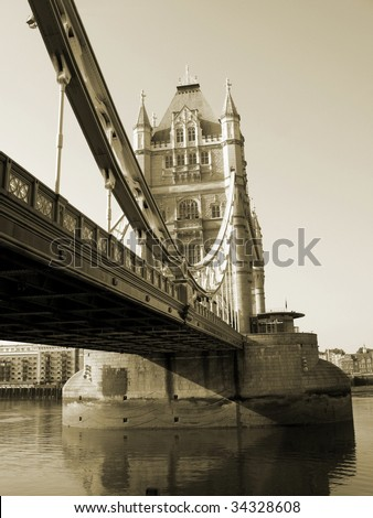 One of the towers of the Tower Bridge. London - stock photo
