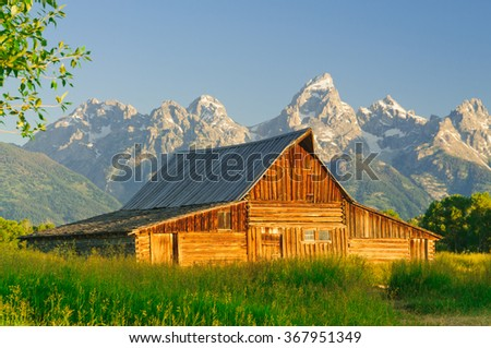 one of the two Mormon  Moulton Barns in the Teton National Park - stock photo