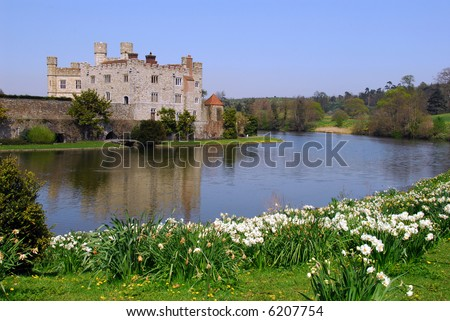 One of the views of Leeds Castle across the river. - stock photo