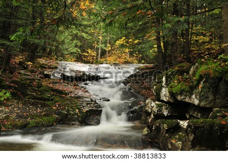 One of the waterfalls in the Appalachaia Falls chain in Randolph, New Hampshire, part of the White Mountain National Forest - stock photo