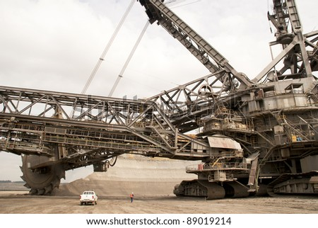 One of the world's largest bucket-wheel excavators digging for lignite (brown-coal) in of the world's deepest open-pit mines in Hambach, Germany - stock photo