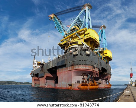 One of the world's largest floating crane vessel. - stock photo
