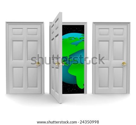One of three doors opens to reveal a world of new opportunity - stock photo