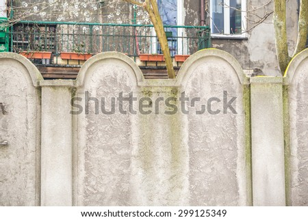 One of two remnants of Jewish Ghetto wall. Shape was deliberately the same as cemetery fence. - stock photo