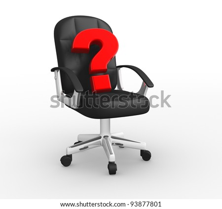 One office armchair with a question mark on it, concept of new leader . 3d render - stock photo