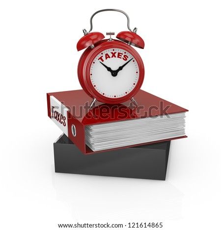 one office folder full of documents and a vintage alarm clock with text: taxes (3d render) - stock photo