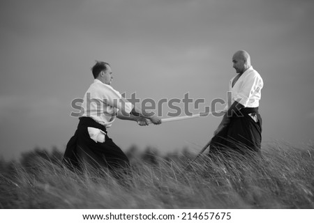 One on one fight, martial art  - stock photo