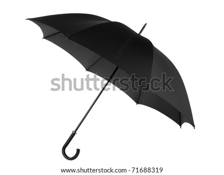 One open black umbrella with curved handle, objects isolated on white background in horizontal orientation, nobody. - stock photo