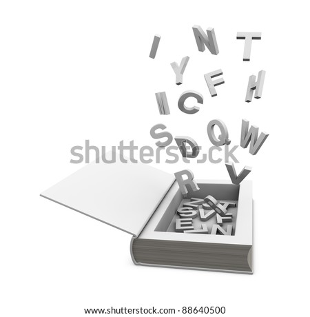 one open book with a hole, some letters into it and some flying around it(3d render) - stock photo