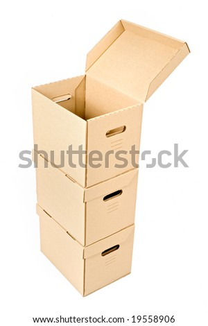 one open cardboard box on two others isolated on white - stock photo