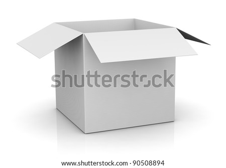 one open carton box in white color (3d render) - stock photo