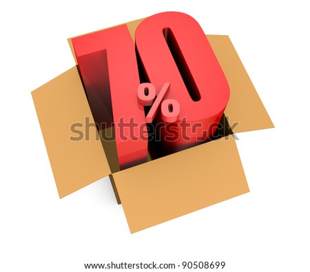 one open carton box with the 70 percent rate number that comes out (3d render) - stock photo