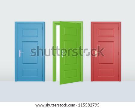 One open door and two closed doors. - stock photo