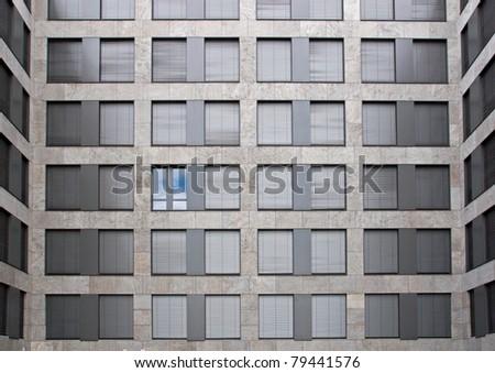 One open window showing blue sky - stock photo