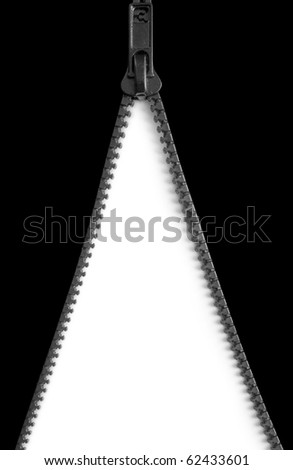 One open zipper isolated on white background - stock photo