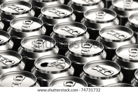 One opened soda can amongst many unopened ones - stock photo