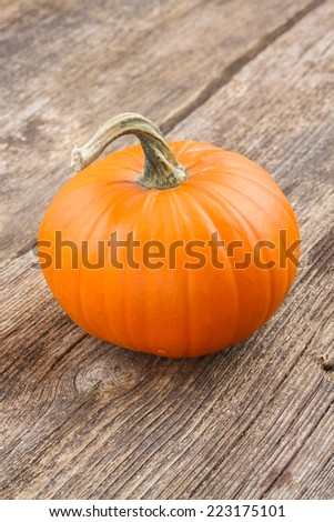 one orange pumpkin on wooden textured  table