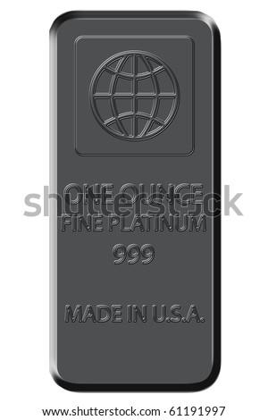 One Ounce Fine Platinum Bar - platinum color - stock photo