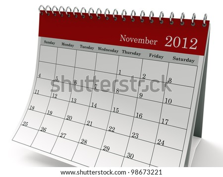 One page desk calendar 2012 with metal spring. This is a 3D render. - stock photo