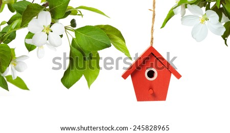 One painted birdhouse with apple blossom on white background - stock photo