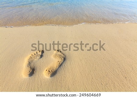 One pair footsteps on coral sandy beach - stock photo