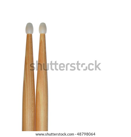 One pair of drum sticks isolated on white creates an abstract background in a square frame.