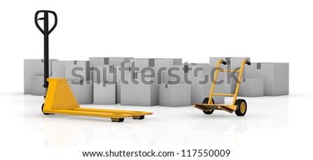 one pallet truck and a hand truck with many cartons on background (3d render)