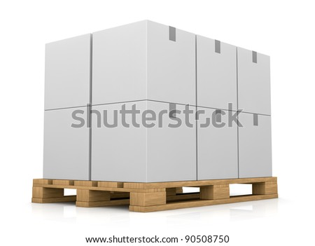 one pallet with some carton boxes over it (3d render) - stock photo