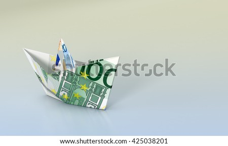 one paper boat made with euro banknotes, concept of business and finance, empty space at the right (3d render) - stock photo