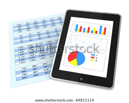 one paper with  a spreadsheet and a tablet that shows charts, concept of technology supporting the financial analysis (3d render) - stock photo