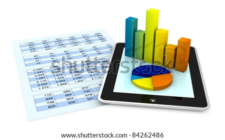 one paper with a spreadsheet and a tablet that shows the graphs, concept of technology supporting the financial analysis (3d render) - stock photo