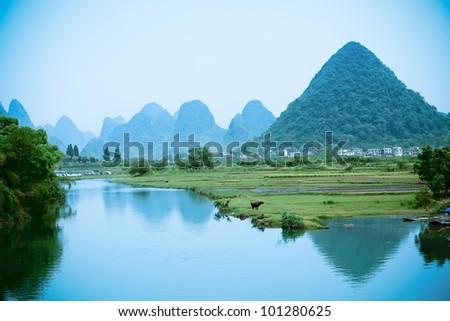 one pastoral scenery in yangshuo,China - stock photo