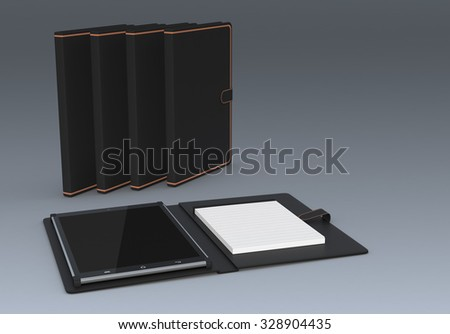one pc tablet with cover and paper notepad. three covers on background (3d render) - stock photo