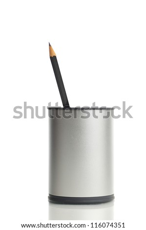 One Pencil in a box, isolated on white background - stock photo