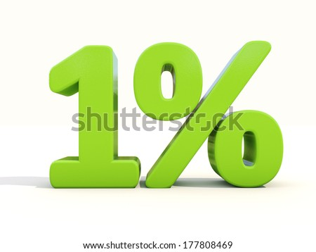 One percent off. Discount 1%. 3D illustration. - stock photo