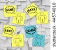 One person changes and stands apart from the group in this episode of Sticky Note Theatre. - stock photo