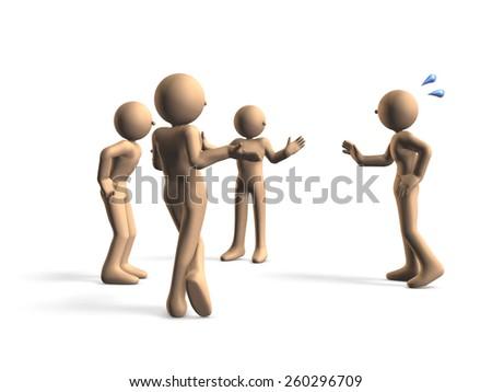 One person have a excuse.Three people are feeling distrust. - stock photo