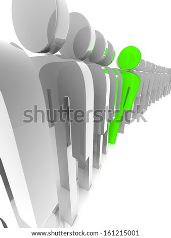 one person looking around others to see whats ahead in a queue - stock photo