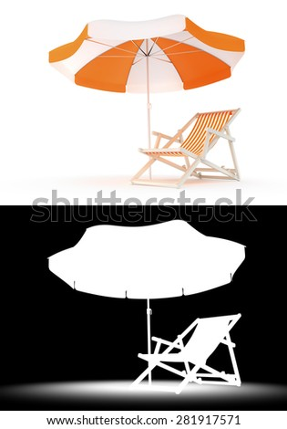 One-Person Rest Place. Single deck chair and umbrella isolated on white background. 3D rendered image with luma matte channel for custom compositing. - stock photo