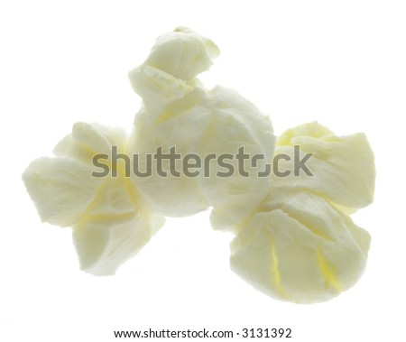 One piece of popcorn isolated on white. - stock photo