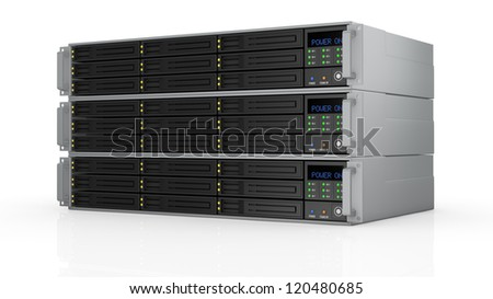one pile of three server racks with nine hd slots, powered on (3d render)