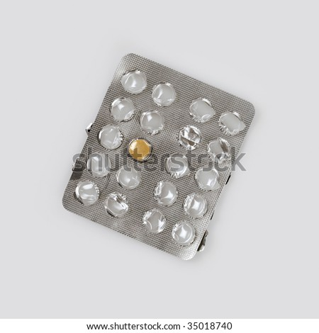 One pill left in empty blister pack, medical pills, health care - stock photo