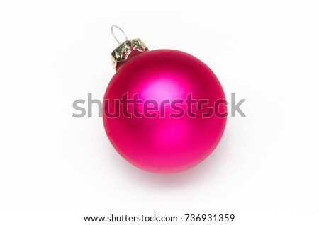 one pink christmas tree ball on white background