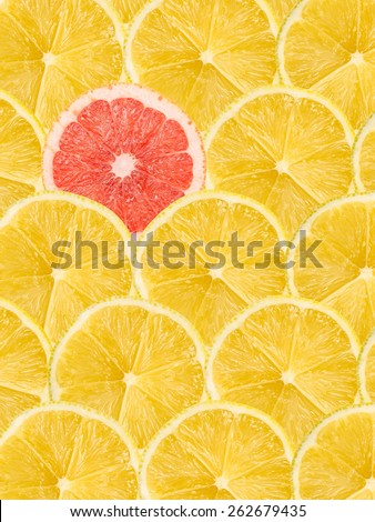One Pink Grapefruit Slice Stand Out Of Yellow Lemon Slices - stock photo