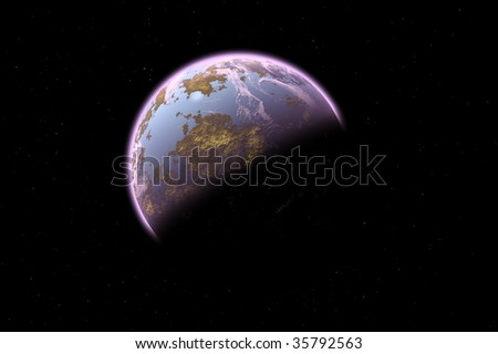 one planet in deep space. - stock photo