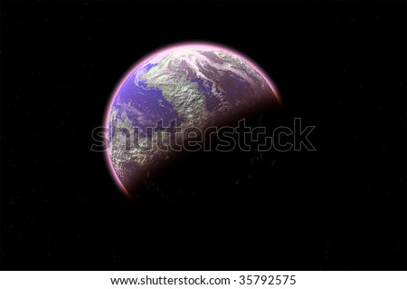 one planet in deep space4 - stock photo