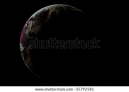one planet in deep space6 - stock photo